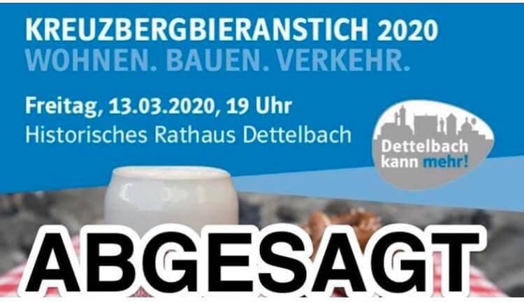 CSU-Ortsverband Dettelbach sagt Kreuzbergbieranstich wegen Corona-Virus ab